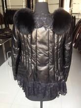 2015 ladies lamb leather black down jacket lace triming fur collar