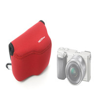 Hot sale High Quality Neoprene Soft Camera Bag Protective Camera Case for Sony Alpha A6000 NEX-6 16-50mm Red Free Shipping