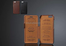 Luxury Genuine leather Hot press molding Flip Protector case cover For iPhone 6 Plus 5.5''