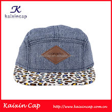 Blue Plain Color Leather Patch 5 Panel Camper Cap With Leopard Fabric Flat Brim Wholesale
