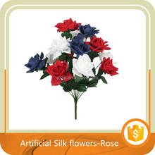 "20.5"" JUMBO SILK ROSE FLOWER BUSH WEDDING BRIDAL BOUQUET RED/WHITE/BLUE"