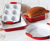 4pc bakeware Non-stick Carbon Steel ceramic Coating Loaf Pan,with silicone handleRB--048