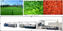 Plastic PP PE man made grass artificial turf flat monofilament extrusion line