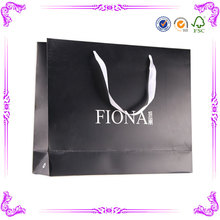 Factory made shopping paper bag with logo print & custom paper bag With Ribbon Handle