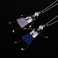 N1447 Free shipping Wholesale fashion doll pendant necklace accessories 2015 Cartoon handmade animated christmas cloth dolls