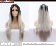 Heat safe black and grey lace front synthetic hair wig