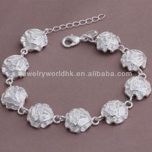 Manera al por mayor rosas llenas pulseras joyería plateada de plata