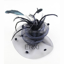 Hot Sale European Style Sinamay Feather Fascinator Clip Hair Accessories