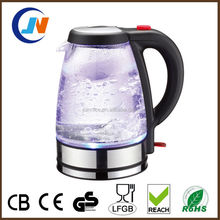 1.7L Blue LED Light Stainless Steel Glass Electric Kettle with CE,CB ROHS approved