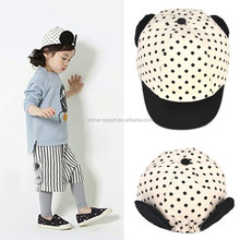 MZ2799 Latest black dot Printed Baby Baseball Hat Children's Hats Cute ear baby caps 2015