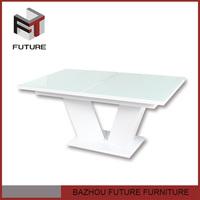 extendable painting glass with high gloss mdf base dining table