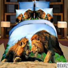 Reactive animal lion printed duvet cover set luxury 100% polyester brand bed set cheap king size 3d bedding set