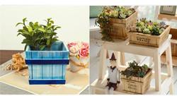 Zakka Style antique revival wooden distressed square planter storage box