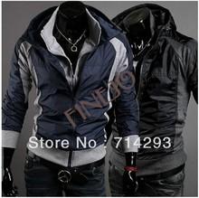 New Men's jacket Slim Fit Hoodies Coats Jackets Double Zipper Black plus size 3418