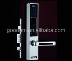 Electronic fingerprint lock with pin-code and mechanical key for apartments