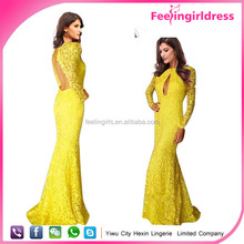 Newest Open Cheast Yellow Lace Evening Dress With Open Back Long
