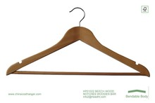 HEAD High quality beech shirt clothes/garment hanger with notches and antislip wooden bar