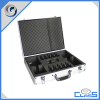 customed new functional black glossy portable EVA Aluminum tools box tools case tool chest