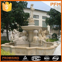2015 elegant well polishing natural beige yellow limestone marble special stone horse fountain