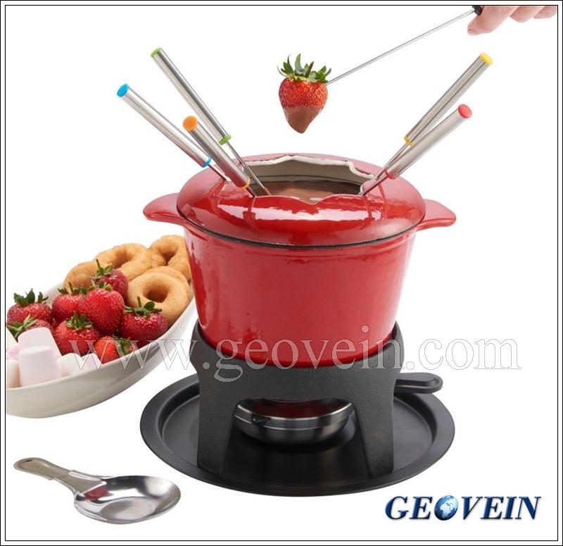 China hot sale cast iron chocolate melting pot fondue pot