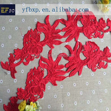 New fashion 100% cotton guipure lace fabric red embroidery cotton lace fabric ladies kurta design lace trim neck collar