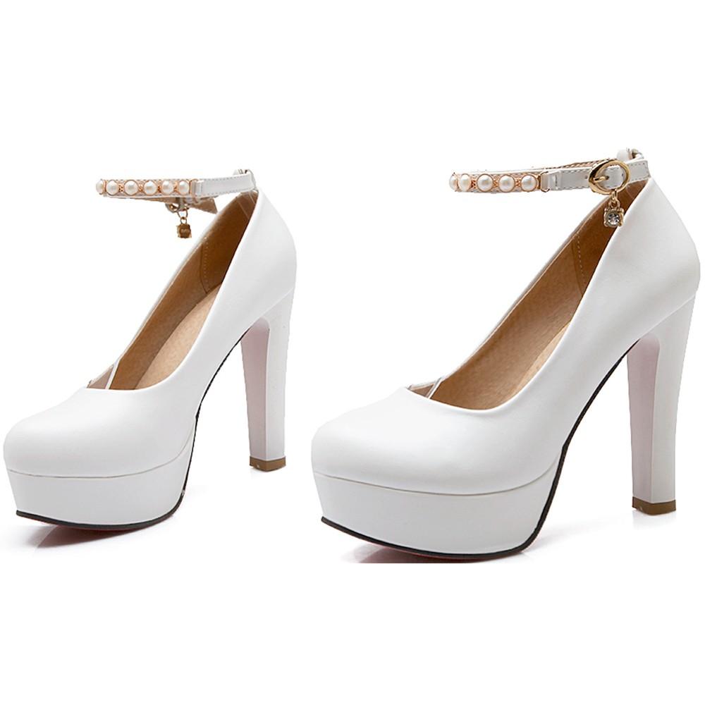 Fashion Pearl La s Platform Pumps Women Round Toe High Heel