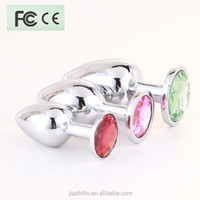 2015 hot selling !Alloy stainless steel anal multi colors jeweled butt plug anal plug