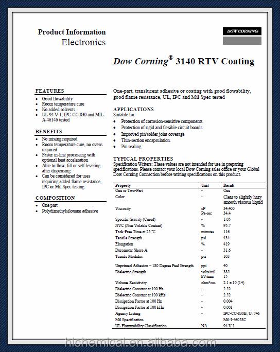 РТВ силиконовое покрытие клей-герметик DOW CORNING 3140