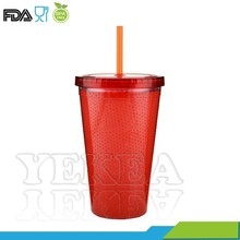 16 oz colourful for christmas gift double walled plastic gelatin tumbler with lid and straw