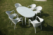 Outdoor White Plastic Rattan Swimming Pool Table and Chair Set SV-1883
