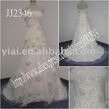 2011 drop shipping low price free shipping high quality Real beaded strapless lace ball gown lace a-line wedding dress JJ2346