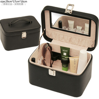 beauty promotion pu leather cheap clear cosmetic makeup train case