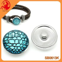 2015 Newest Design 18mm Blue Crack Metal Snap Button Jewelry Interchangeable Alloy Press Snap Button Charm In Stock