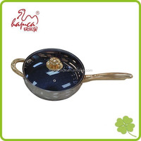 Induction Stainless Steel Frying Pan Saucepan cooking pan with Golden Handle