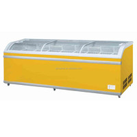 1098L curved glass door chest freezer(Double- Temp)