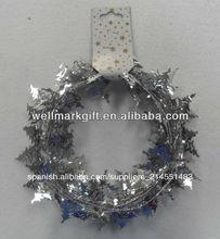 9 pies de plata metálica de navidad de oropel, el árbol de navidad de oropel, con conexión de cable guirnaldas