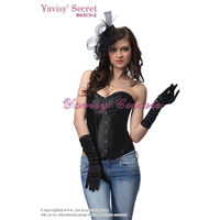 wholesale clothing factory plain black fat woman sexy corset and half cup corset lingerie