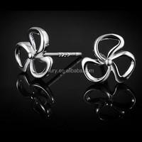 100% real 925 sterling silver earrings studs flower