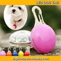 100pcs Circular LED Dog tag Pendant Collar Puppy Led Safety ID tag Night Light Pet Dog Collar 6 Colors drop shipping DP-001
