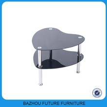 Stainless steel tube heart shape black tempered glass coffee table