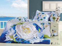 Beautiful queen size of blue and white rose flower pure cotton 3D printing bedding sets