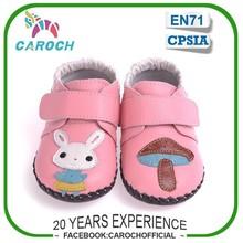 La marca de francia lindo conejo& bushroom diseño de suela de cuero suave zapatos de bebé para las niñas c-1318