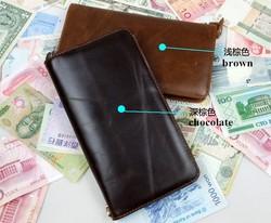 Vintage Designer 100% Top Genuine Oil Wax Leather Cowhide Men Long Zipper Wallet Wallets Purse Clutch Bag For Men