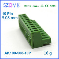 classical green plastic terminal block connector which can be customized by color, pin, spacing and size