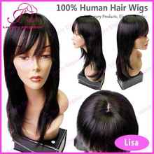 18 Inch Wig Long Straight Hair Virgin Human Hair With Natural Hairline