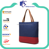Latest high duty ladies two-tone thick canvas tote bag wholesale
