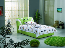 Green color lovely bed room furniture, kid bed