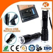 Aluminium 10W XML T6 LED USB 5 pin Rechargeable High Power Led Flashlight Torch Mobile Work Light