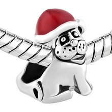 custom made charms wholesale Silver Plated Dog Wearing Red Christmas Charm Hat Bracelet Fit Diy Chain Bracelet Snake