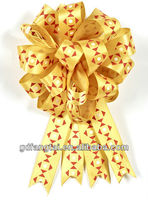 Printed yellow ribbon flowers bows rosettes for packing